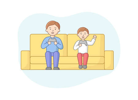 Concept Of Weekend Time Leisure, Fatherhood And Friendship. Characters Entertaining Indoors. Father And Son Or Friends Play Video Games. Weekend Active Time. Cartoon Flat Style. Vector Illustration