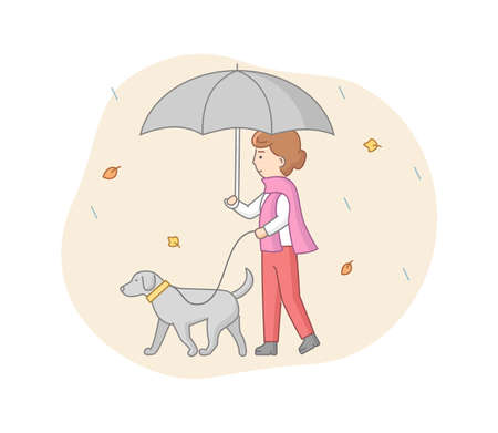 Walking Dogs Concept. Dog Walker Is Walking With Dog In Park In Autumn Under Umbrella. Four Legged Friend And Girl Have A Good Time Outdoors. Cartoon Linear Outline Flat Style. Vector Illustration