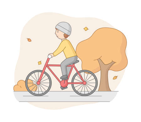 Autumn Weekend Time Leisure Concept. Young Woman Rides Bicycle In the Park. Active People Do Sport And Have A Good Time. Weekend Active Time. Cartoon Linear Outline Flat Style. Vector Illustration