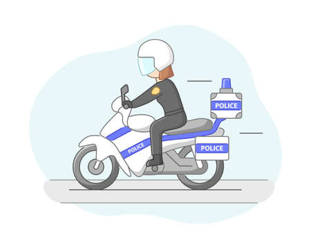 Protection Of Population Concept. Policeman Ready To Protect Order And Apprehending a Criminals. Policewoman Officer Riding By The Road On Motorbike. Cartoon Linear Outline Flat Vector Illustration