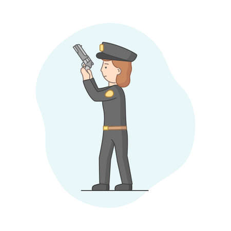 Protection Of Population Concept. Policeman Ready To Protect Order And Apprehending a Criminals. Policewoman Officer Ready To Shoot With Gun. Cartoon Linear Outline Flat Style. Vector Illustration Ilustracja