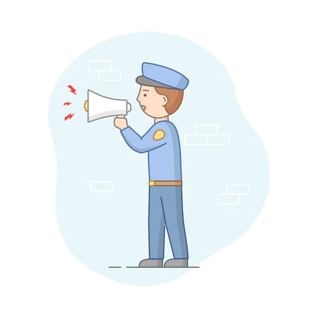 Protection Of Population Concept. Policeman Ready To Protect Order And Apprehending Criminals. Policeman Makes An Announcement With Loudspeaker. Cartoon Linear Outline Flat Style Vector Illustration Ilustracja