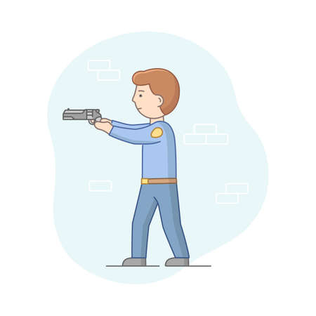 Protection Of Population Concept. Policeman Ready To Protect Order And Apprehending a Criminals. Anti terrorist Officer Ready To Shoot With Gun. Cartoon Linear Outline Flat Style. Vector Illustration