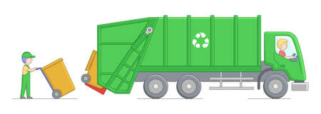 Urban Services And Environment Protection Concept. Worker Collect Garbage And Loading It Into Garbage Truck. Scavengers Worker At Workplace. Cartoon Linear Outline Flat Style. Vector Illustration