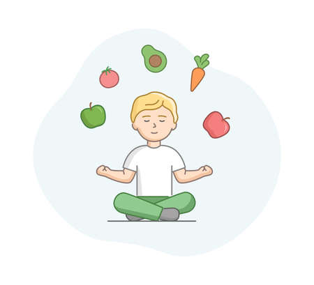 Vegetarianism, Concept. Man Vegetarian Meditates In Lotus Pose With Vegetables And Fruits Above His Head. Boy Leading Healthy Lifestyle And Nutrition. Cartoon Linear Outline Flat Vector Illustration