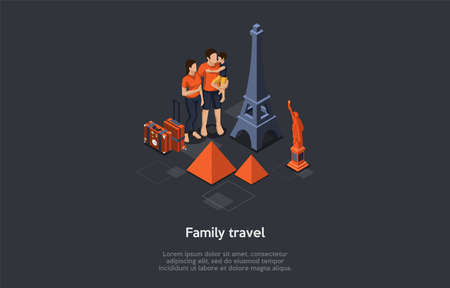 Family Adventures And Summer Vacations Concept. Group Of People Or Family With Little Son In Hands Are Standing At The Campfire, Communicating And Having Good Time. Isometric 3D Vector Illustration Vettoriali
