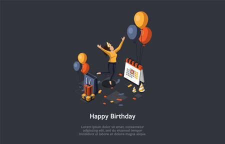 Concept Of Birthday Party. Celebration Ceremony. Woman With Paper Cone On Head Jumping Of Happy During Birthday Party. Girl Gets Lots Of Gifts And Positive Emotions. Isometric 3D Vector Illustration