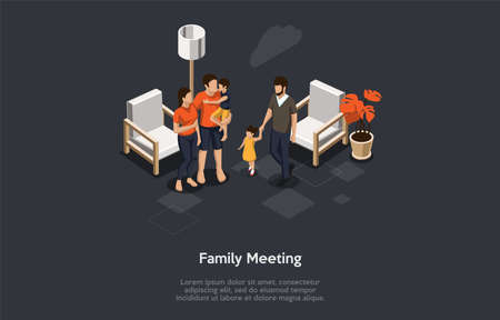 Family Meeting Concept. Happy People Meet Together With Children. Family Rest at Home Cozy Environment. Set of Strolling Parents Or Friends With Little Kids. Cartoon Isometric 3D Vector Illustration