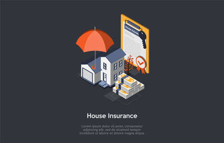 House Insurance Concept Illustration On Dark Background With Lorem Ipsum Text. Isometric Items For Real Estate Property In 3D Style. House With Garage, Money, Umbrella, Insurance Contract And Keys