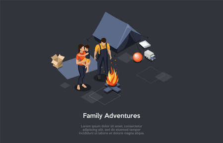 Family Adventures And Summer Vacations Concept. Group Of People Or Family With Little Son In Hands Are Standing At The Campfire, Communicating And Having Good Time. Isometric 3D Vector Illustration Illustration