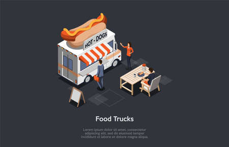 Concept Of Fast Food Festival. Modern Food Truck With Hot Dog Logo Offers Tasty Fresh Fast Food Meal. Characters Order Lunch At Mobile Restaurant. Quick Way To Eat. Isometric 3D Vector Illustration