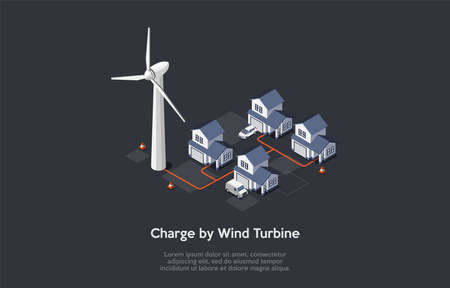 Concept Of Eco City. Modern Beautiful Residential District, Friendly Renewable Energy Saving. Solar Panels, Windmill Turbine For Home Produce Energy And Charge Cars. Isometric 3D Vector Illustration