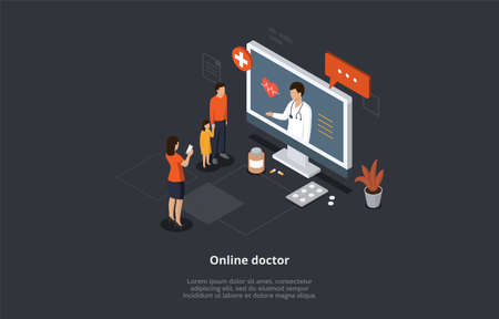 Health Care Isometric Concept, Online Doctor And Medical Consultation. Family At Doctor s Appointment. Online Medical Support With Woman Doctor Consulting On Computer Screen. 3D Vector Illustration