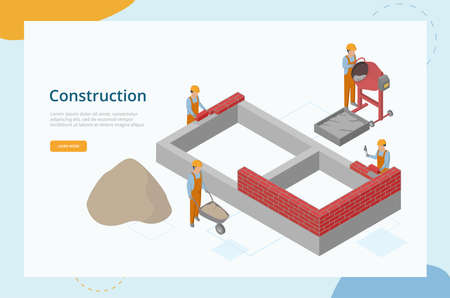Construction Concept. Website Landing Page. Workers Work In Team In Protective Uniform And Helmets. Men Are Mixing Concrete, Building Brick Wall. Web Page Cartoon Isometric 3D Vector Illustration
