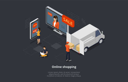 Isometric Online Shopping Concept. Characters Order And Buy Goods On Sale Online By Means Mobile App. Courier Delivers Purchases. Men And Women Are Using Gadgets To Buy Goods. 3D Vector Illustration