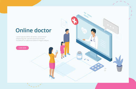 Health Care Isometric Concept, Online Doctor Consultation. Website Landing Page. Family At Doctor s Appointment. Online Medical Support With Woman Doctor Consulting. Web Page 3D Vector Illustration