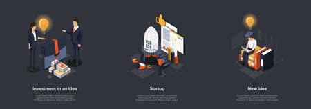 Concept Of Developing New Idea And Startup. Characters Working On New Idea And Making It Happen. Process Of New Idea Creation, Investor Searching And Risks Analysing. Isometric 3D Vector Illustration