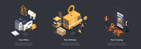 Post Office Work. Customers Bring Parcels To Post Office, Workers Loading And Delivery Parcels To Van Using Pallet Jack And Forklift. Possibility Of Parcel Tracking. Isometric 3d Vector Illustration