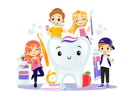 Happy Smiling Kids Brushing Their Teeth. Teeth Healthcare Concept. Young Joyful Male And Female Characters, Dental Care Items And A Big Tooth On White Background. Flat Cartoon Style Vector Design