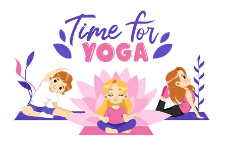 Three Cute Male And Female Characters Doing Yoga On Rugs. Cartoon Vector Illustration With Writing On White Background. Young People In Different Stretching And Meditation Poses. Time For Yoga Concept