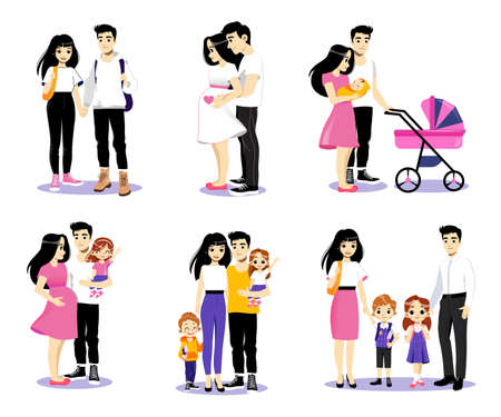 Love Story Concept Cartoon Illustration. Set Of Six Couples In Different Phases Of Relationship. Vector Picture In Flat Style. Young Family Of Male And Female Characters With Two Growing Up Children