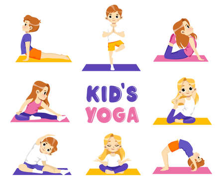 Healthy Lifestyle Illustration With Set Of Kids Doing Yoga. Gymnastics For Children. Vector In Flat Style On White Background. Happy Little Characters And A Colorful Writing. Yoga For Kids Concept