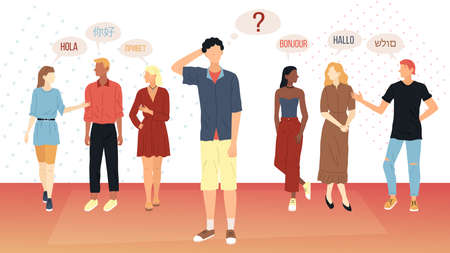 Social Communication Concept. Young People From Different Corners Of The World Greet Each Other In Different Langages. Man Wonders How They Are Going To Communicate. Flat Style Vector Illustration