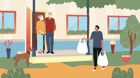 Coronavirus And Helping The Elderly Isolated People Concept. The Elderly Couple Stand On The Porch Of The House Wearing Masks. A Man In Protective Mask Brings Food Bags. Flat Style Vector Illustration