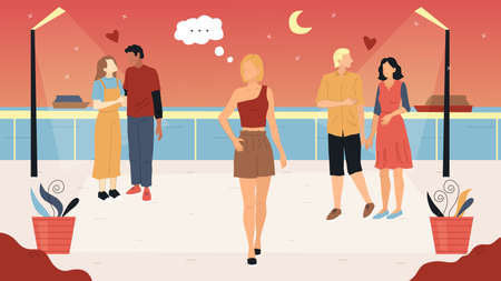 Love And Relationship Concept. Girls And Boys Enjoying Their Hot Summer Evening Walking Along The Seashore. Pensive Girl Walks Alone in The Moonshine Looking Around. Flat Style Vector Illustration  イラスト・ベクター素材