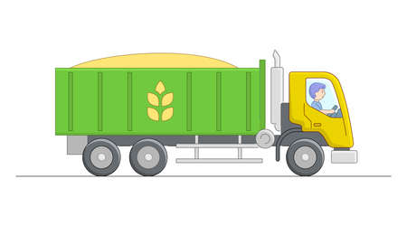Vector Illustration Of Green And Yellow Tipper With Driver Character. Linear Cartoon Composition On White Background. Outline Rural Farm Object Transporting Goods. Wheat Transportation With Dump Truck Vektoros illusztráció