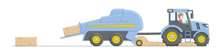 Blue Combine Harvester Mowing Wheat On White Background. Hay Removing Machinery Tractor With Driver. Linear Cartoon Composition On White Background. Agricultural Concept Cartoon Objects With Outline