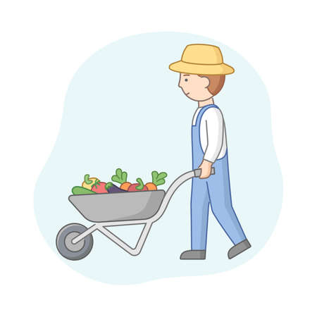 Linear Cartoon Farmer In Hat And Denim Overalls Pushing Wheelbarrow With Vegetables. Young Male Agricultural Worker With A Rural Appliance. Cart Full Of Summer Harvest. Vector Outline Composition
