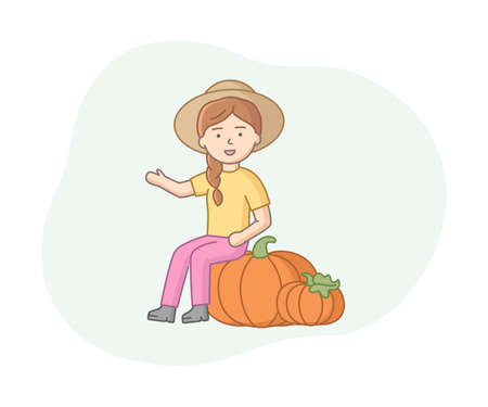 Smiling Woman Farmer Character With Two Big Orange Pumpkins. Cartoon Style Vector Illustration On White And Blue Background. Farm Harvesting Concept Linear Design. Female Character In Wide Brimmed Hat