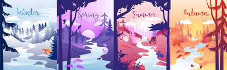 Four Seasons Concept Illustration. Vector Composition With Winter, Spring, Summer And Autumn. Colorful Clip Art Of One Locality In Different Times. Nature With Small River, Trees, Sun And Animals