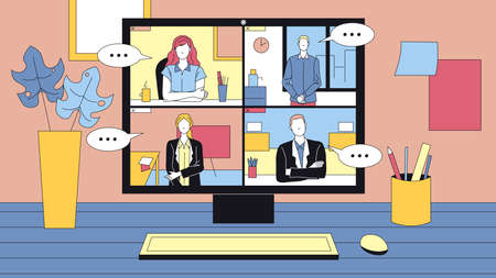 People Group Having Online Video Conference. Desktop Computer Standing On The Table And Surrounding. Concept Vector Illustration, Flat Style. Modern Technology Business Call. Male And Female Employees