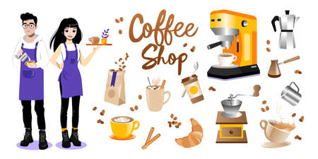 Coffee Cartoon Items Set On White Background. Flat Style Vector Illustration Of Male And Female Barista Characters In Aprons And Different Coffee Shop Elements Gradient Writing, Coffee Cups, Grains 向量圖像