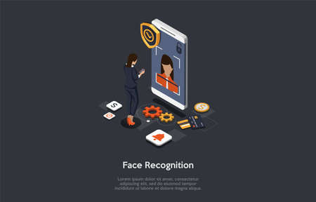 Modern Technology, Device Unlock, Face Recognition, Face Unlock Concept. Female Character Gets Access To Functions And Settings On Smartphone Using Face Recognition. 3d Isometric Vector Illstration