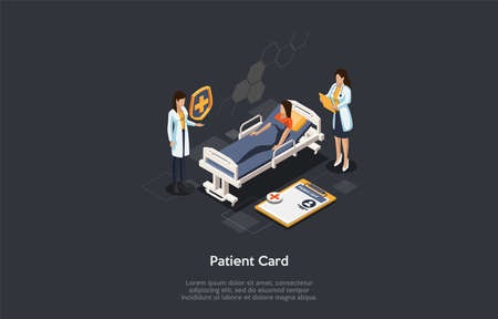 Medicine Centre And Health Identification Patient Card Registation Concept. The Doctor And The Nurse Registrate A Medical Card For A Patient Lying In The Bed. Colorful 3d Isometric Vector Illustration