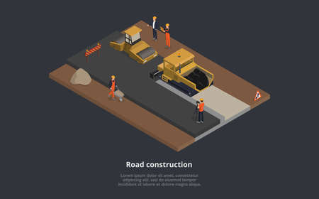Vector Illustration Of Road Construction Concept. 3D Isometric Composition With Street Machinery In Working Process. Cartoon Style Male Characters Wearing Orange Uniform, Superior In Suit. Street Sign  イラスト・ベクター素材