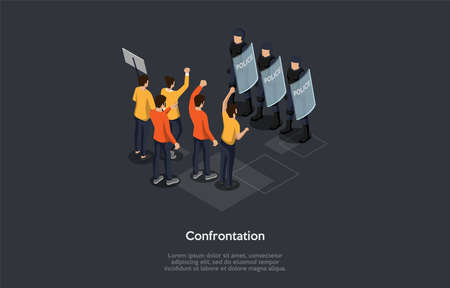 Social Meetings, Confrontation, Protests And Chaotic Riots Concept. A Group Of Protesting People Standing In Front Of Policemen In Helmets Holding Shields. Colorful 3d Isometric Vector Illustration