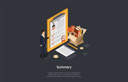 Work And Resume Concept. Office Worker In A Suit Showing A Professional Resume Summary Statement That Highlights A Job Seeker s Professional Skills And Experience. 3d Isometric Vector Illustration