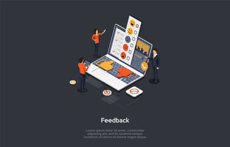 Customer Review And Feedback Concept. People Give A Review Rating. Customer Sends A Feedback With Important Insights And Issues About The Experience With A Product. 3d Isometric Vector Illustration