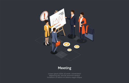 Business And Education Concept. A Group Of Business Partners Join A Training. Female Speaker Presenting Statistics And Facts Served As The Content For Infographics. 3d Isometric Vector Illustration