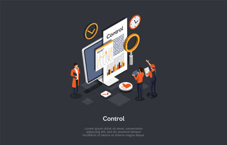 Working Process Control Concept. Male Employees Set Up Customization And Controling Workflow Automation Using Infographic Data. Colorful 3d Isometric Vector Illustration On A Dark Grey Background