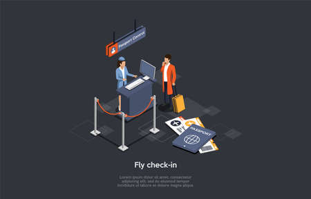 International Air Travel And Fly Check-in Concept. An Airport Female Employee Checks The Passanger s Documents And Luggage At The Passport Control Point. Colorful 3d Isometric Vector Illustration