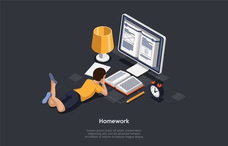 Education, Studying Concept. Student In Learning Process. Kid Lying In Front Of The Screen Studying, Checking Mail And Reading Books, Doing His Homework. Colorful 3d Isometric Vector Illustration