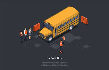 Studying, Education And Transportation Concept. Students In Order Waiting For A School Bus On A Bus Stop. Group Of Pupils With Schoolbags Go To School By Bus. Colorful 3d Isometric Vector Illustration Illustration