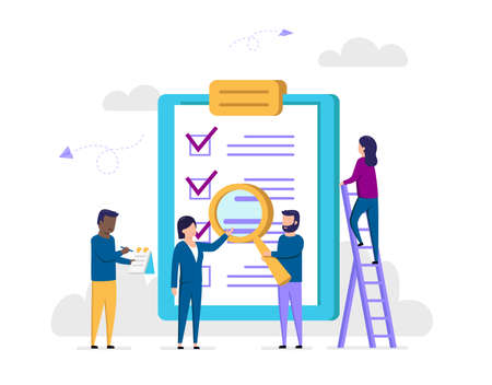 Work Tasks Implementation Concept. Coworkers Notice Three Of Four Completed Cases On Checklist In Paper Holder. Successful Teamwork Makes The Dreamwork. Colorful Vector Illustration In Flat Style