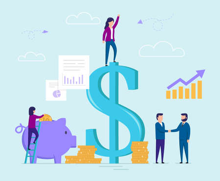 Business And Finance, Money Saving Strategy Concept. Female Characters Climb Big Dollar Sign, Put A Penny In a Piggy Bank. Business Partners Shake Hands, Succesful Deal. Flat Style Vector Illustration