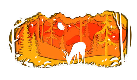 Wildlife Sanctuary, Biosphere Reserve, National Park, Plants, Animals And Natural Habitats Concept. Deer Silhouette In The Forest. Protected Area, Wilderness Reserve. Flat Style Vector Illustration